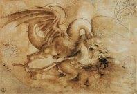 Drago che lotta con un leone - Leonardo da Vinci
