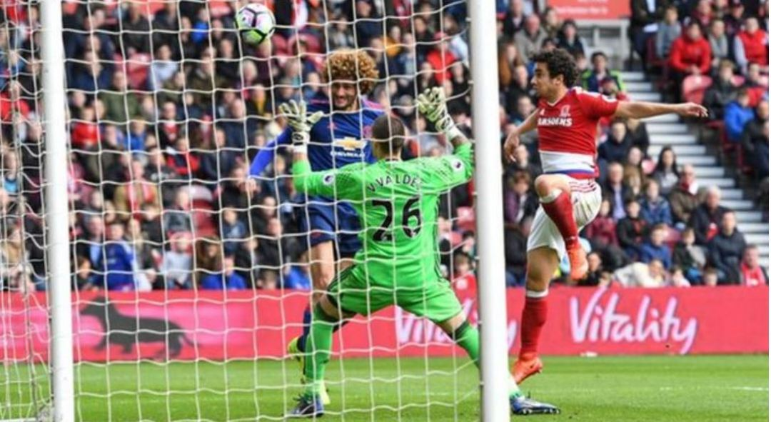 Marouane Fellaini's first Premier league goal in 2016-17 tolled doom on Boro's survival hopes.