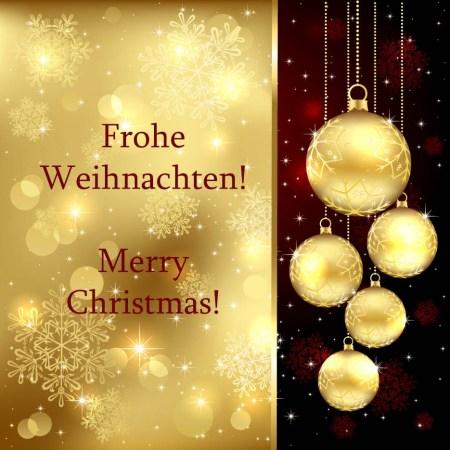 Gruß Weihnachten goldene Kugeln
