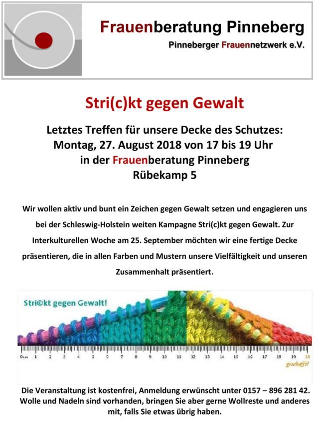Pinneberg: letzter Stricktermin am 27.8. | Präsentation am 25.09.2018