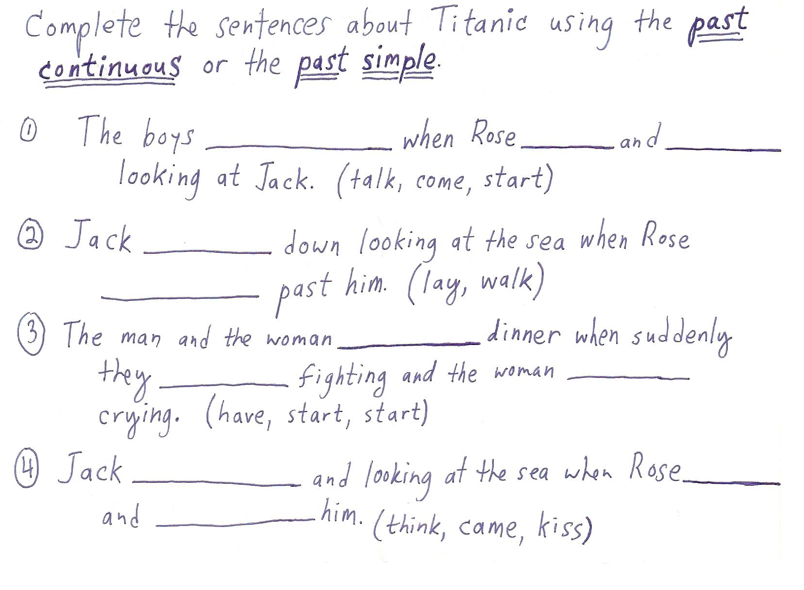 Simple Past Continuous Tense Worksheets