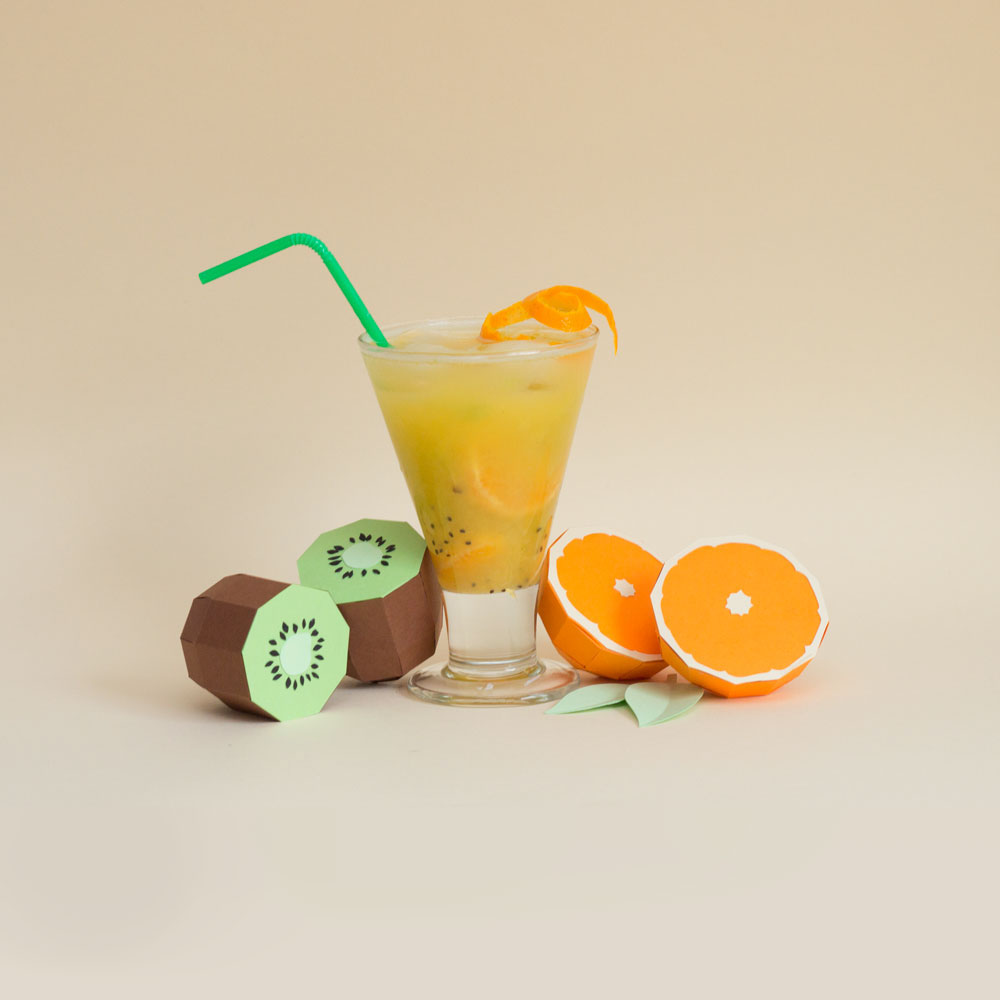 Fresh Drinks: Tropical Paper Craft Ingredients by Rendi Studio - Kiwi + Orange