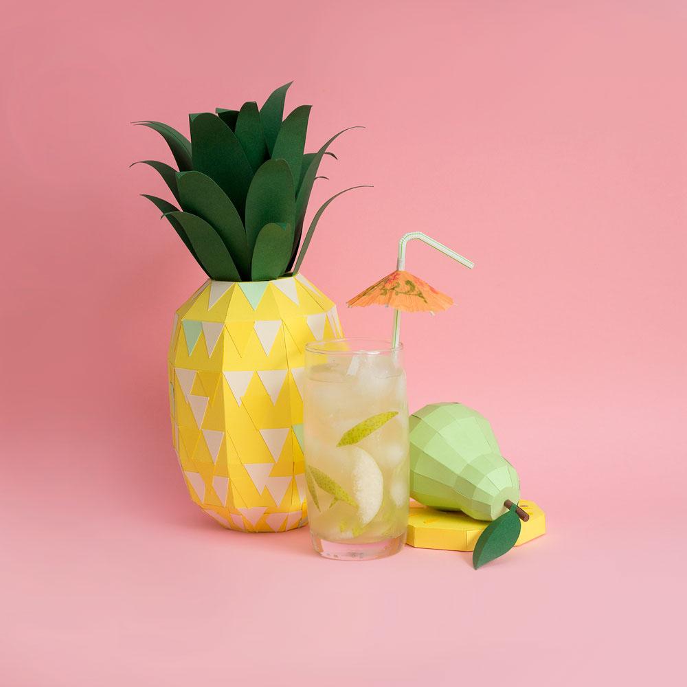 Fresh Drinks: Tropical Paper Craft Ingredients by Rendi Studio - Pineapple + Pear