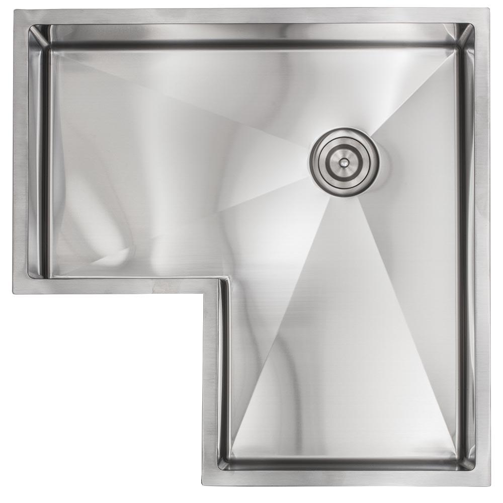30 corner stainless steel kitchen sink single bowl 16 gauge sink 1 2 radius
