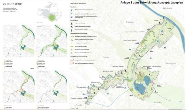 Durch das Projekt Stadtgrün Südost soll eine neue Grünachse von Prohlis bis zum alten Elbarm in Tolkewitz entstehen. Karte: Stadtplanungsamt LHW Dresden