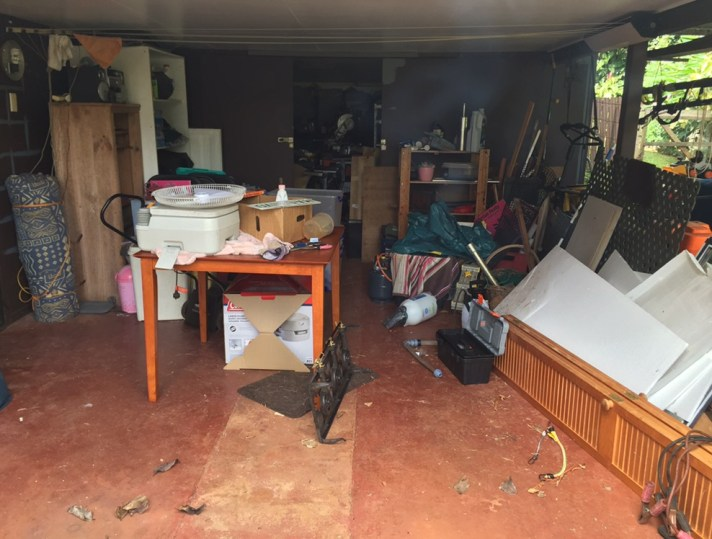 This is the carport - you can vaguely see the dark brown doors on the back wall, that lead into the workshop. Its particularly messy at the moment, after having to move a lot of stuff around, due to the Pest Guy doing his annual tour-of-duty.