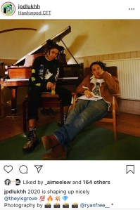 An Instagram screenshot. Two people sit in front of a grand piano. Beneath is the text: jpdlukhh: 2020 is shaping up nicely""