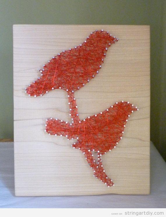 love birds string art on wood string art diy free patterns and templates to make your own. Black Bedroom Furniture Sets. Home Design Ideas