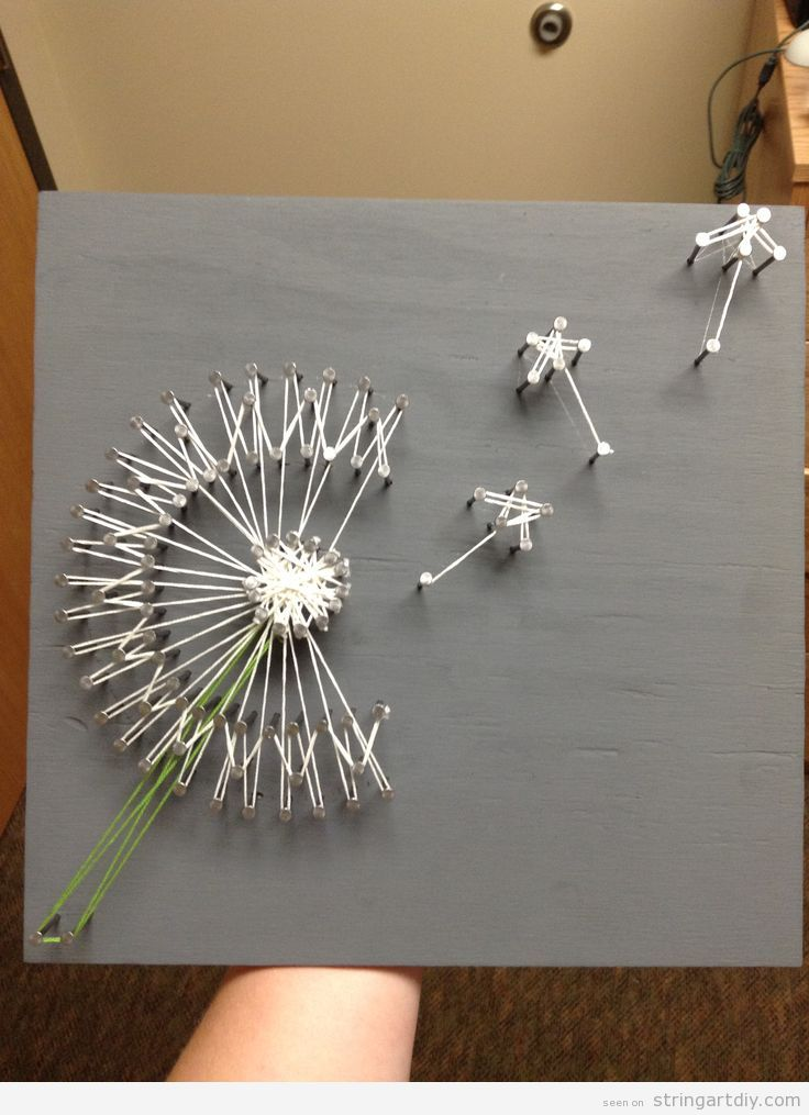 flying dandelion string art diy