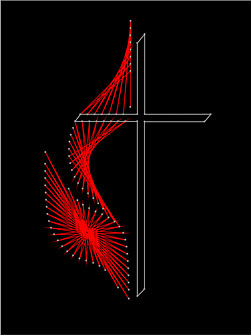 Free string art cross and flame pattern to download and print