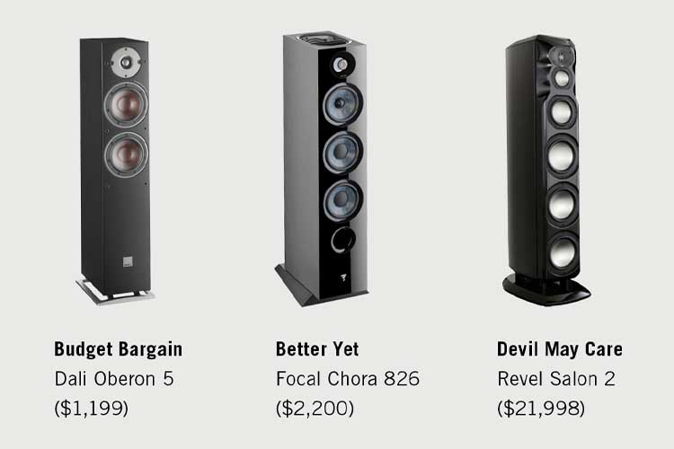 three floor-standing speakers on a white background