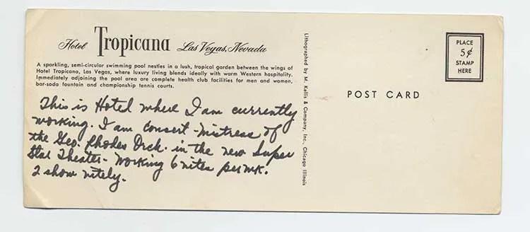 Hotel Tropicana postcard back, c. 1975