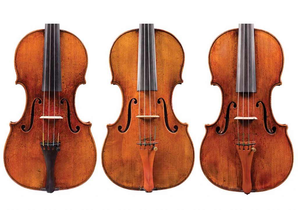 Ex. 3 and 4: Comparing the mystery instrument (right) to two examples by Guarneri del Gesù