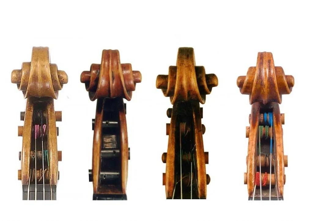 four violin scrolls