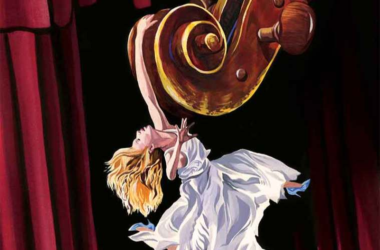 stage fright illustration of woman dangling from gigantic cello scroll