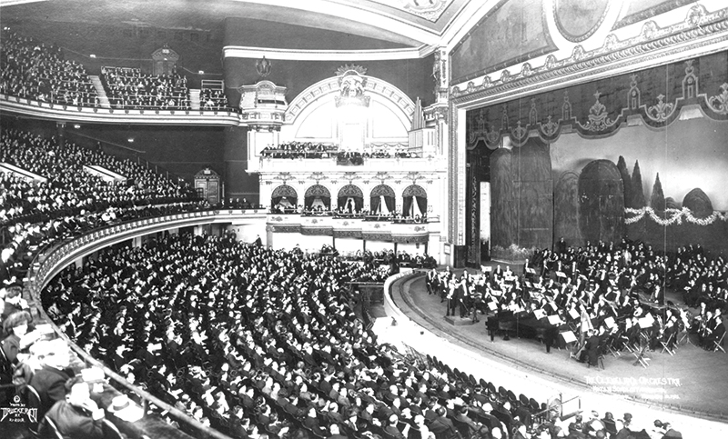 The Orchestra's first appearance in New York, at the New York City Hippodrome in 1921. Courtesy of The Cleveland Orchestra Archives