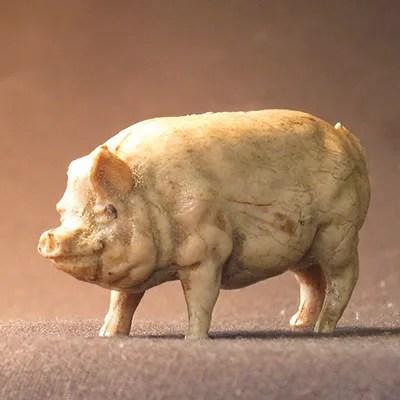 Violin maker James N. McKean's toy pig named Arnold, found at Peter Prier school