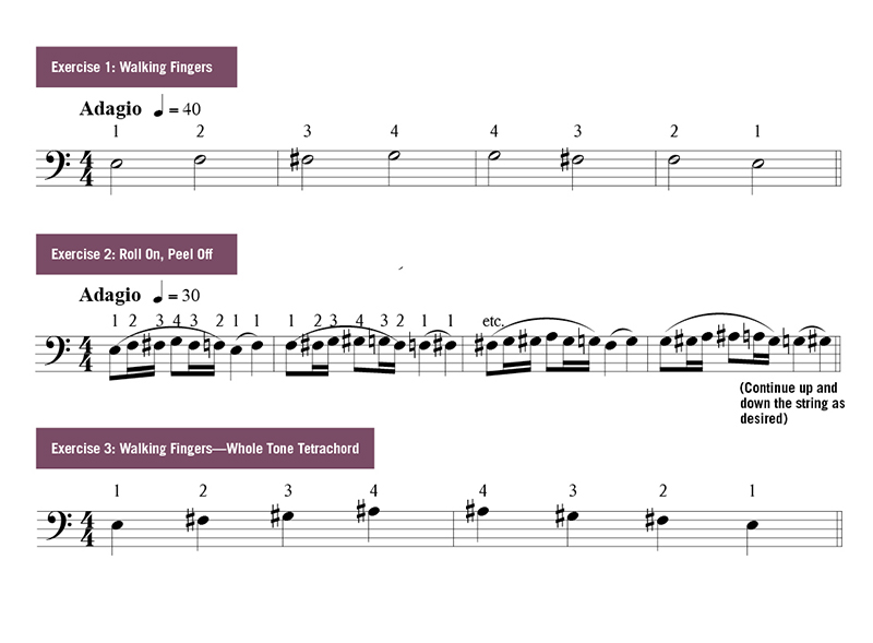 Avoid Collapsing Third & Fourth Fingers on Cello music notation examples