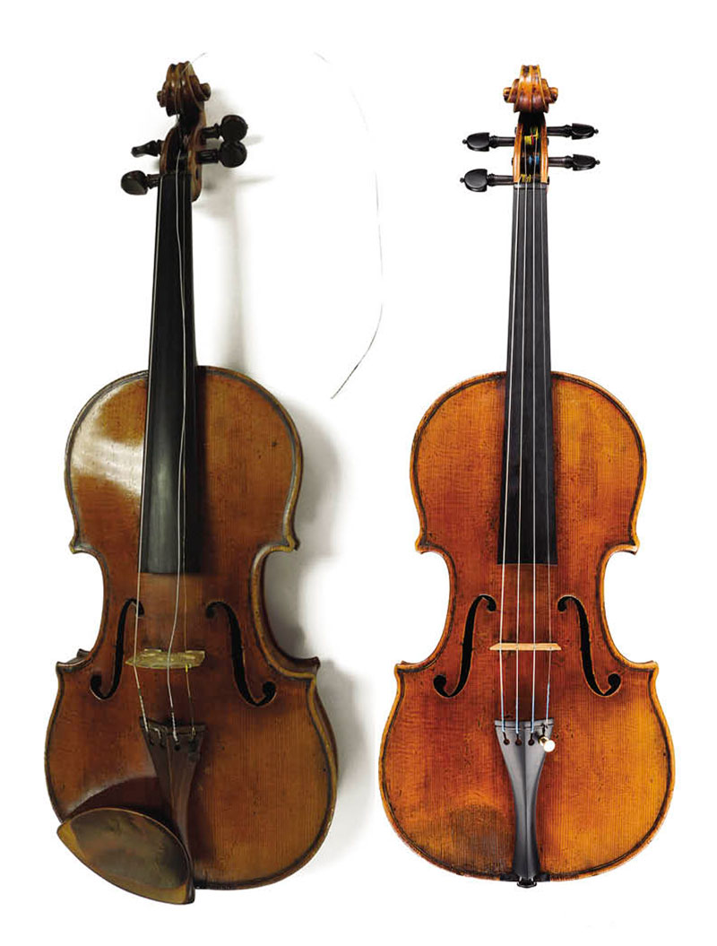 The 'Ames, Totenberg' Stradivari before (left) and after (right) restoration by Rare Violins of New York
