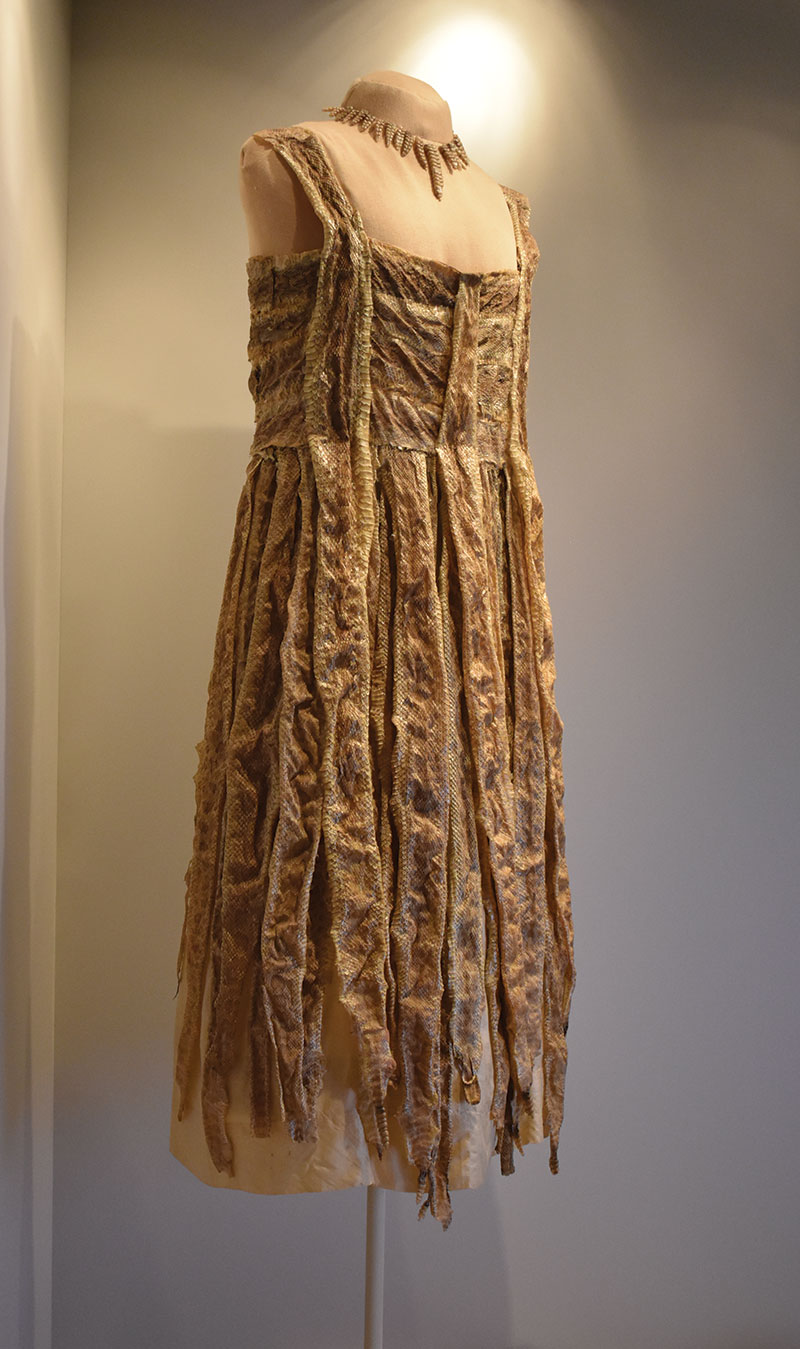 Dress made of rattlesnakes killed by Katherine McHale Slaughterback, also known as Rattlesnake Kate, circa 1925–26.