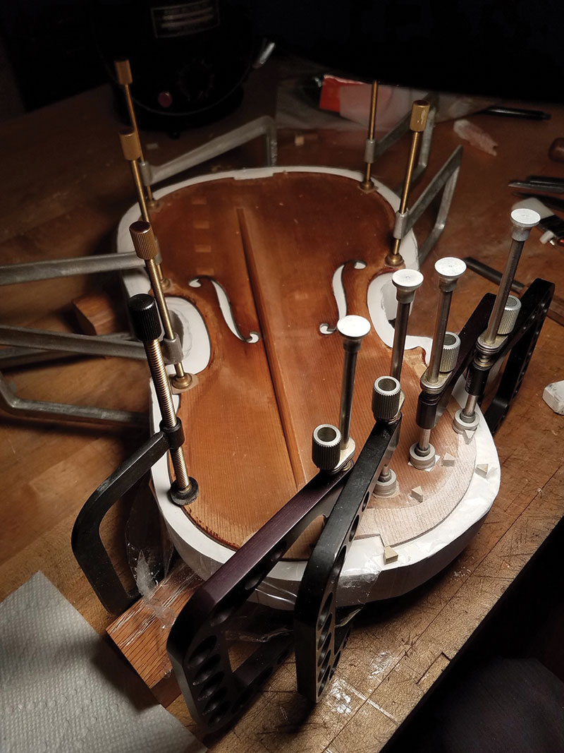 The 'Ames, Totenberg' Stradivari during restoration with Rare Violins of New York.