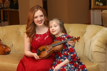 Rachel Barton Pine and daughter Sylvia-Teresa Crawford photo