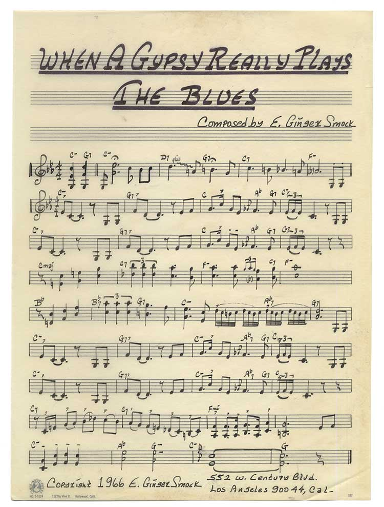 """Music notation for """"When A Gypsy Really Plays the Blues"""" by jazz violinist Ginger Smock"""