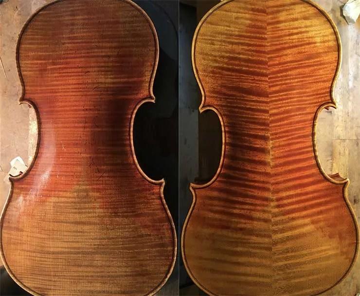 two violin backs side by side
