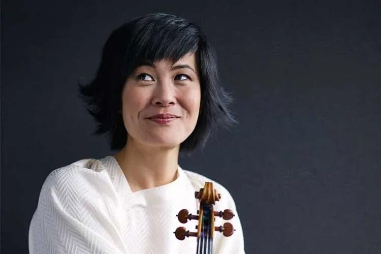 Violinist Jennifer Koh poses with her instrument