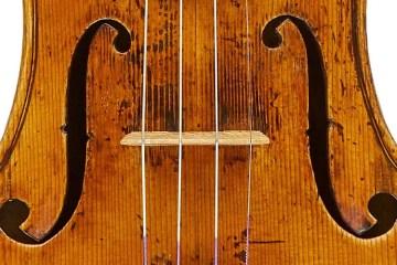 "1773 ""Sinzheimer"" G.B. Guadagnini violin closeup photo"