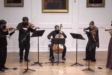 Parker Quartet performing with violist Kim Kashkashian