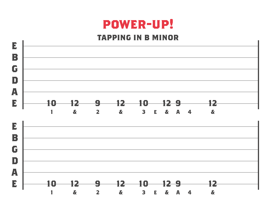 tapping in b minor - guitar tablature example