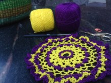 The doily on my hook right now. Rico Essentials Crochet Thread Size 10. I am using a 1.0 mm steel hook.