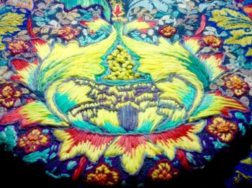 Crewel Embroidery. Wool on linen tea-towel. Renata Bursten.