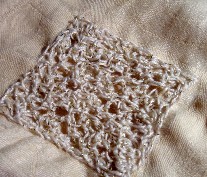 Visibly Mended Apron:: A crocheted patch, by Renata Bursten