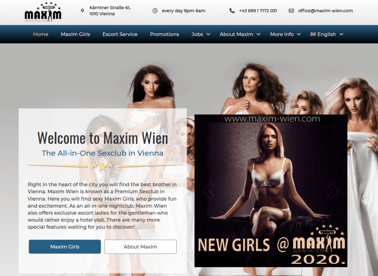 starting page of Maxim Wien stripclub