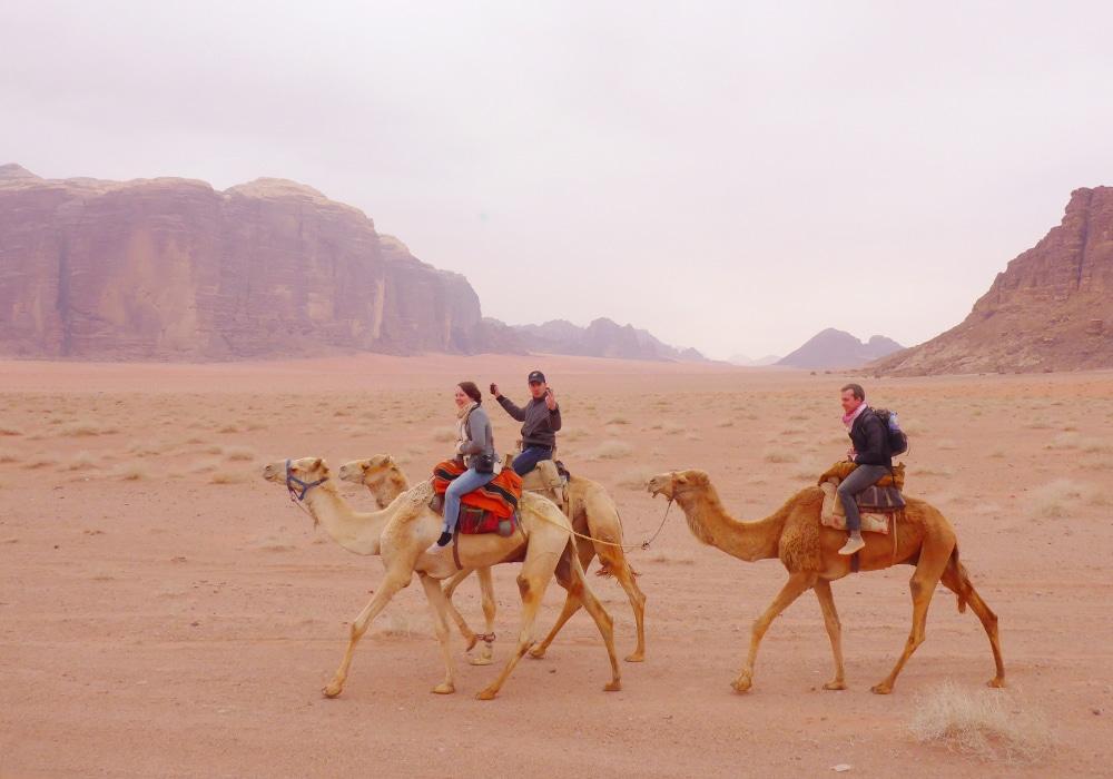 Kamelentocht door de Wadi Rum woestijn
