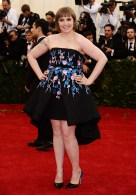 Granted, Lena Dunham might need to work on her posing, but I love the hi-low hem of this dress (something I usually hate) and it's chic while staying fun, something I can see as matching Lena's personality. { Giambattista Valli Couture }