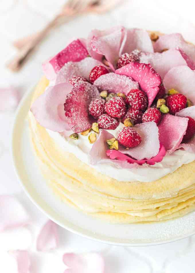 crepe cake with rose water cream (sponsored)