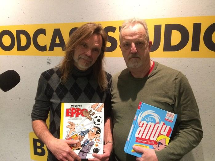 Typex (links, met Eppo-boek) en Ger Apeldoorn (rechts, met Typex's Andy). ©stripjournaal.com