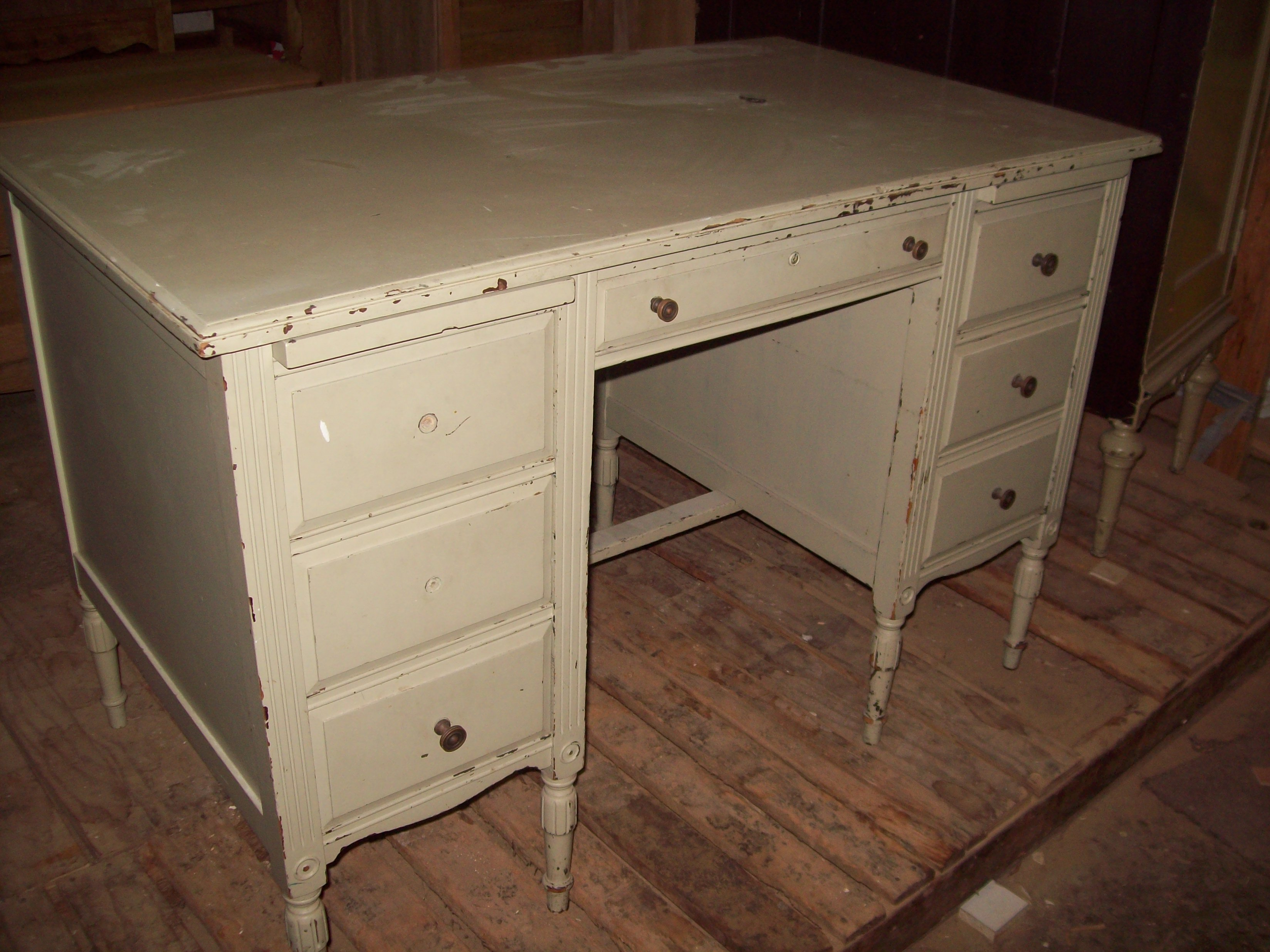 Painted Knee Hole Desk Before Stripping.