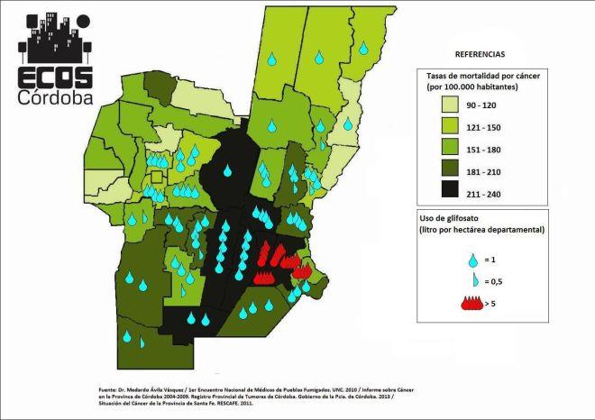 Mapa elaborado a partir de los datos de las tasas de mortalidad por tumores en la provincia de Córdoba (2004-2009) y de Santa Fe (2005-2008). Los números aproximados por el uso de glifosato por departamento son extraídos de un mapa presentado en el informe del Primer Encuentro de Médicos de Pueblos Fumigados, desarrollado en la UNC, a partir de información suministrada por el Ministerio de Salud de la Nación en 2009-2010.