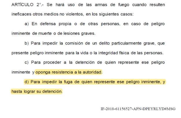 protocolo de uso de armas de fuego, fuerzas de seguridad , ministra de Seguridad Bulrrich, ONU (Organización Naciones Unidas), la OEA (Organización Estados Americanos) y CIDH (Comisión Interamericana Derechos Humanos), San Miguel del Monte y tres de Febrero