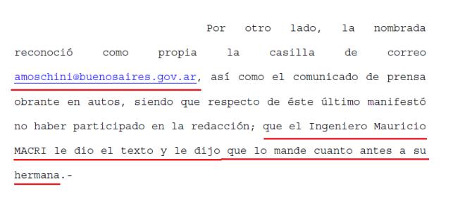 Anna Moschini, Mauricio Macri, corrupción