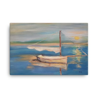 "Image of Sailboat - 24"" x 36"" Canvas - The original was hand-painted by Deborah Kala."