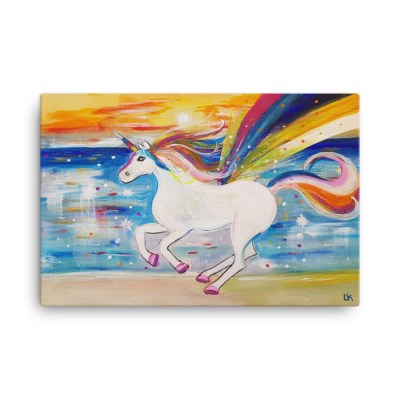 """Image of Rainbow Unicorn 24"""" x 36"""" Canvas - from our own original acrylic by artist Deborah Kala. Inspired by the children's fantasy."""