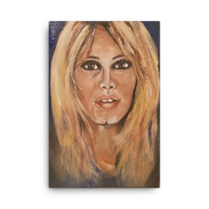 """Image of Seventies Bardot - 24"""" x 36"""" - Canvas - Inspired by the screen Godess Bridget Bardot, painted in acrylic on canvas by artist Deborah Kalvrezou exclusive to StripyDot."""