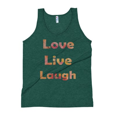 Image of LoveLiveLaughGreen - Apparel Unisex Tank Top - Designed from an original hand-painted artwork by Deborah Kala artist.