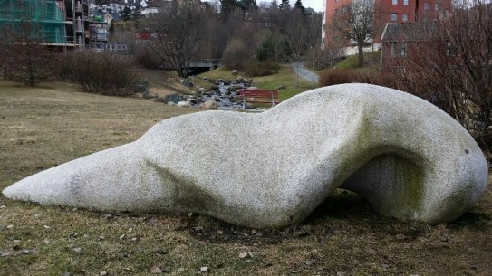 Series of stone sculptures in Iladalen. They remind me of whale bones.