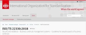 ISO/TS 22330 – Aspectos Humanos da Continuidade de Negócios